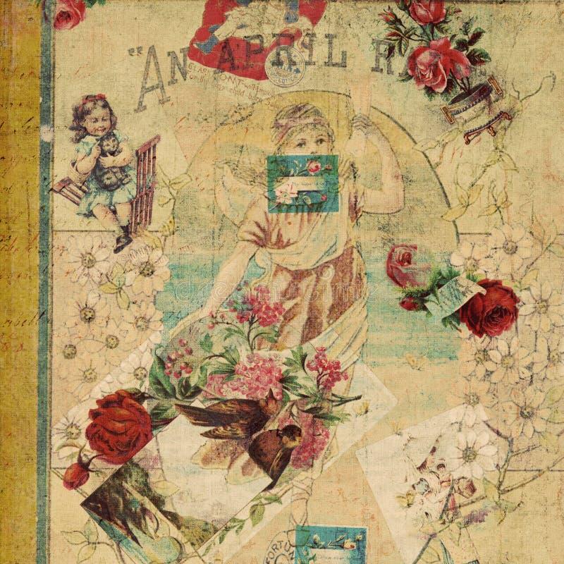 сбор винограда утиля античного коллажа флористический стоковое фото rf