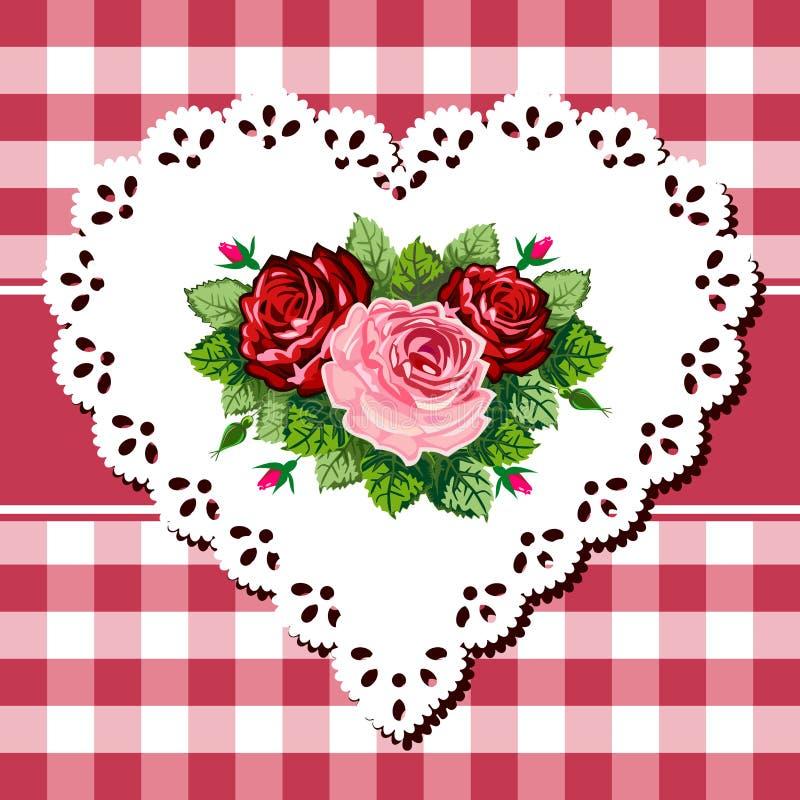 сбор винограда шнурка сердца букета розовый иллюстрация штока