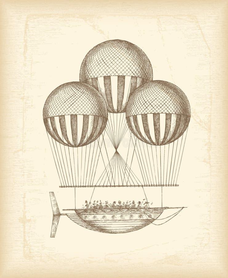 сбор винограда эскиза воздушного шара бесплатная иллюстрация