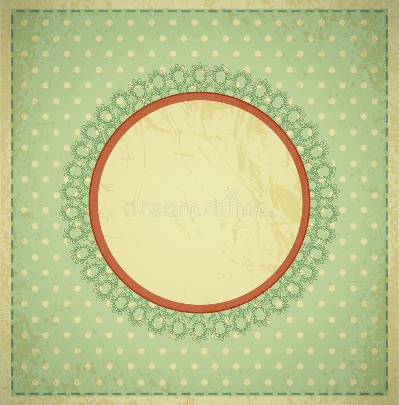 сбор винограда grunge рамки предпосылки круговой иллюстрация вектора