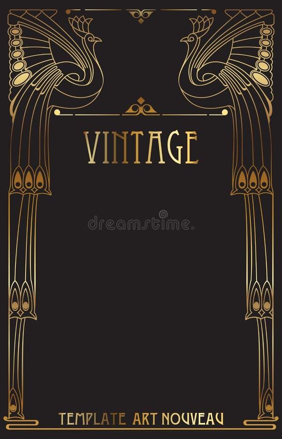 сбор винограда nouveau предпосылки искусства иллюстрация вектора