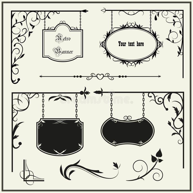 сбор винограда signboard комплекта элементов украшения иллюстрация вектора