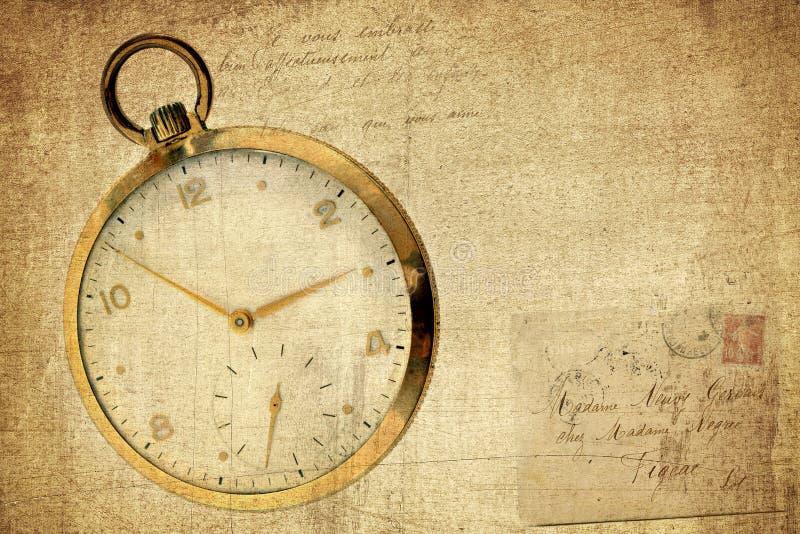 сбор винограда timepiece предпосылки текстурированный grunge стоковая фотография
