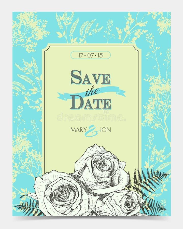сбор винограда роз карточки флористический романтичный иллюстрация штока