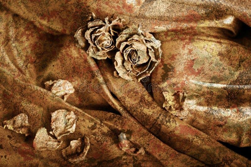 сбор винограда сатинировки предпосылки сухой розовый Изображение покрашенное золотом,  стоковое изображение
