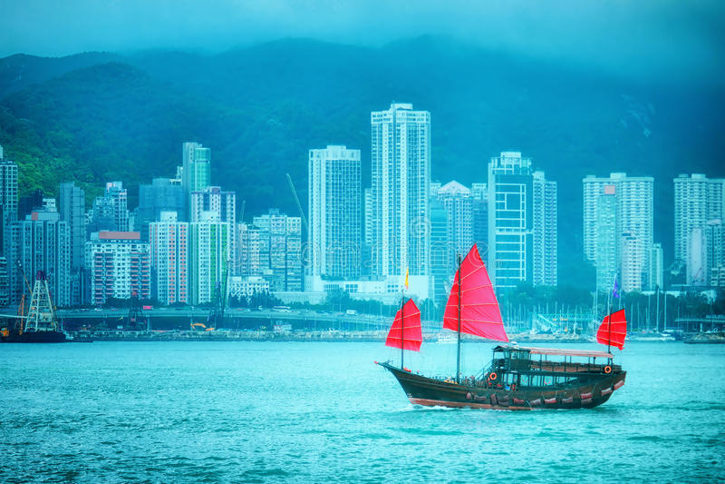 сбор винограда Hong Kong шлюпки стоковое изображение