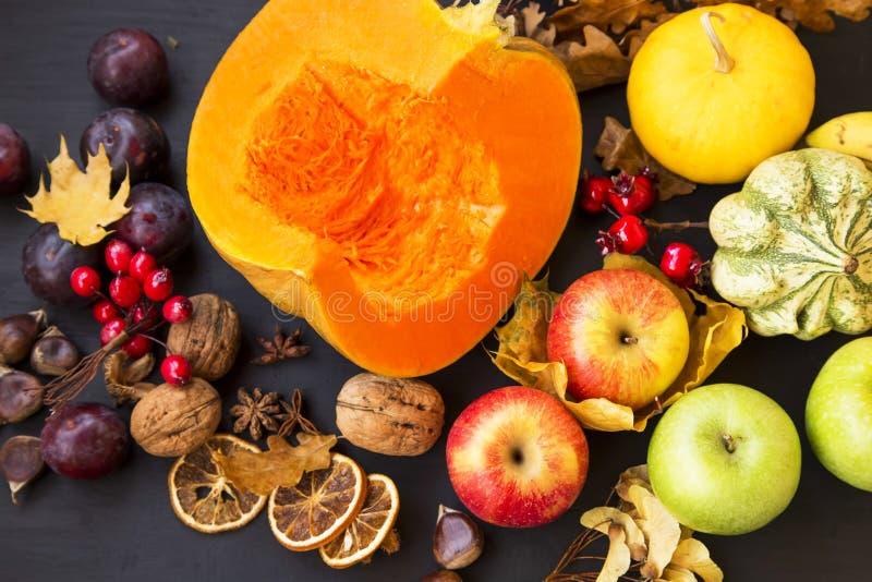 Сбор осени с тыквами, сквошом, сливами, яблоками и каштаном стоковые изображения