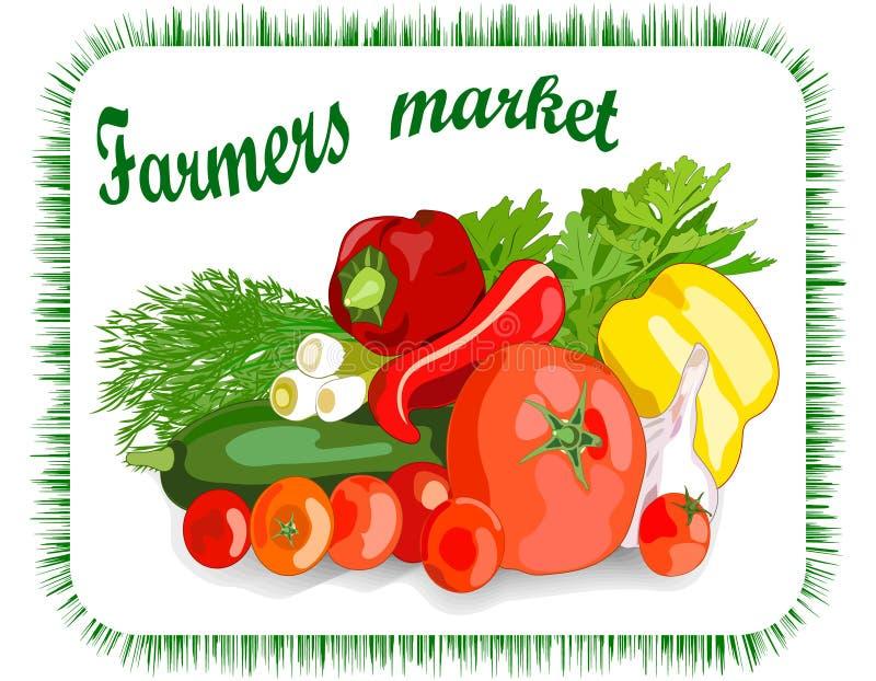 Сбор рынка фермеров овощей Иллюстрация красочной руки вычерченная бесплатная иллюстрация