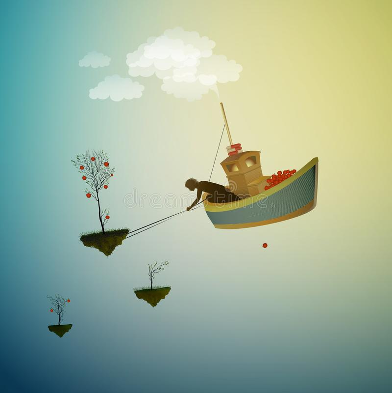 Сбор страны чудес, время сжать волшебное яблоко, волшебный корабль в Dreamland, сцена от страны чудес, иллюстрация вектора