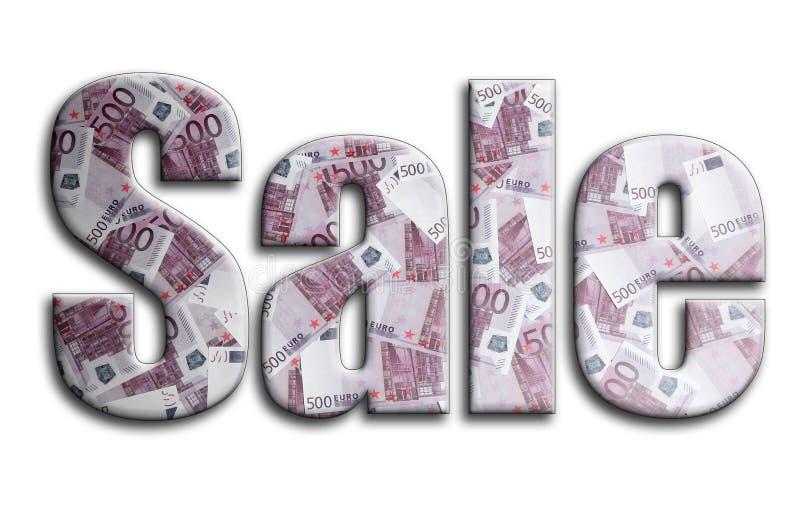 сбывание Надпись имеет текстуру фотографии, которая показывает много 500 счетов денег евро бесплатная иллюстрация