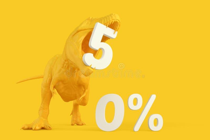 сбывание стеклянной руки принципиальной схемы увеличивая T-Rex с precent знаком скидки 50 illustrati 3d стоковые фото