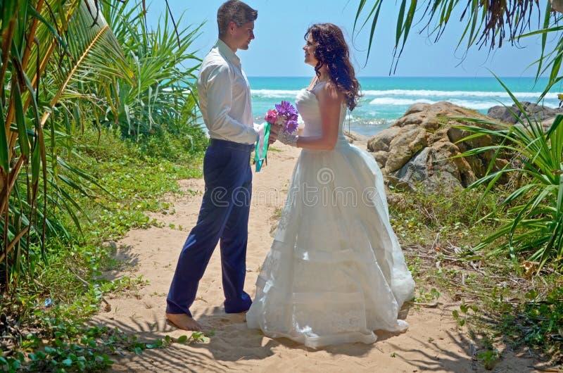 Свадебная церемония на пляже в тропической пальме, свадьбе и медовом месяце Красивый жених и невеста в тропиках на острове стоковые изображения