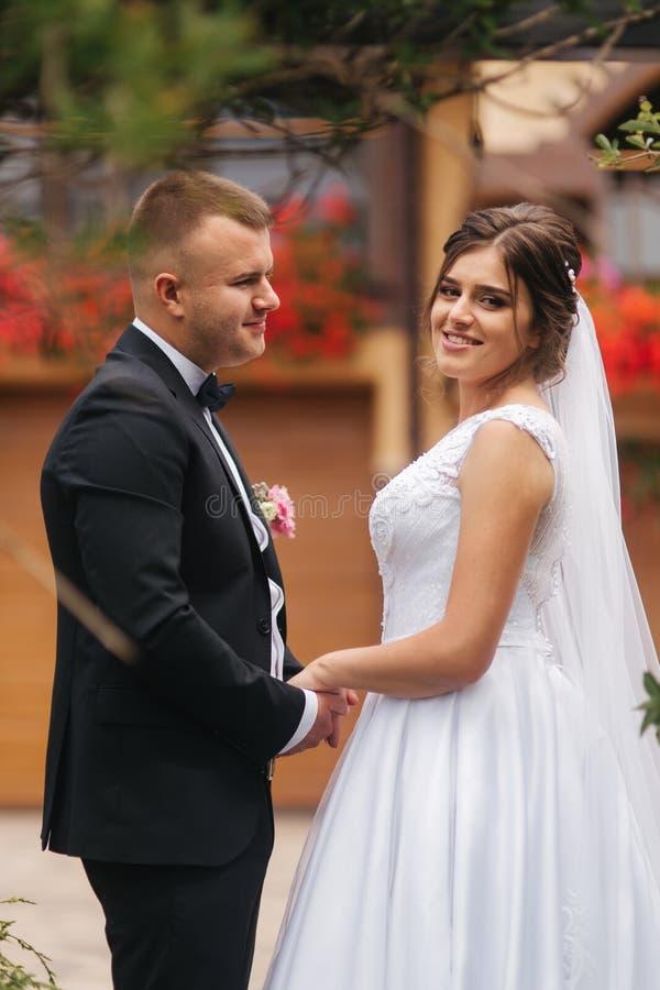 Свадебная церемония снаружи как раз поженено Предпосылка гор Взгляд невесты внутри к камере стоковая фотография rf