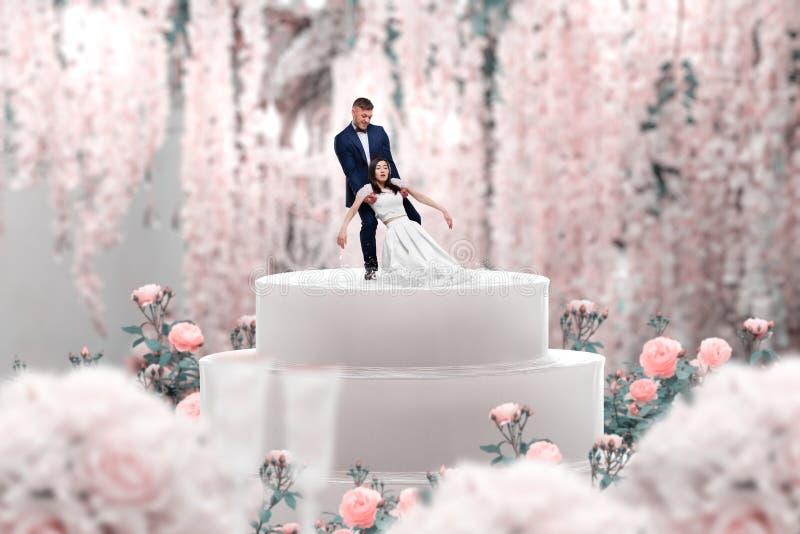 Свадебный пирог, жених и невеста, предложение руки и сердца стоковые изображения
