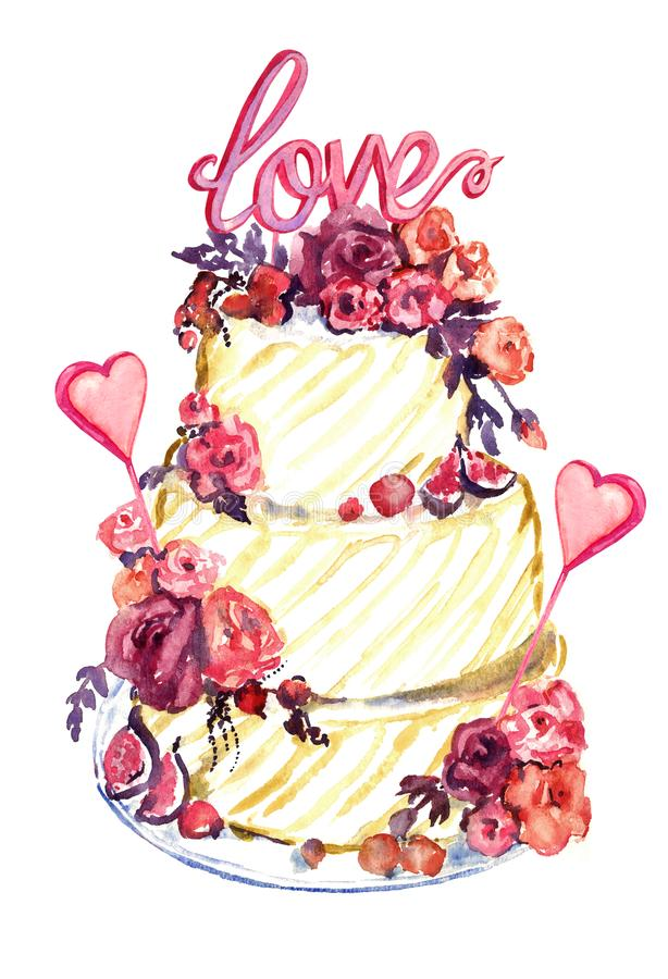 Свадебный пирог с розовыми розами, сердца и слово любят на верхней части иллюстрация вектора