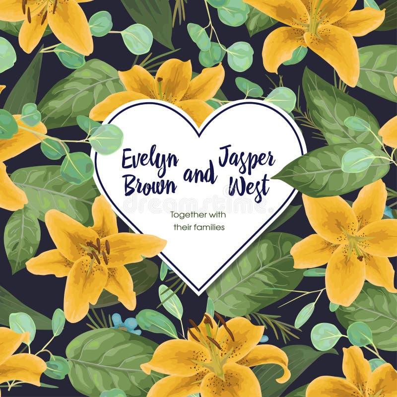 Свадьба, валентинки флористическое приглашение, приглашает карточку Вода вектора бесплатная иллюстрация