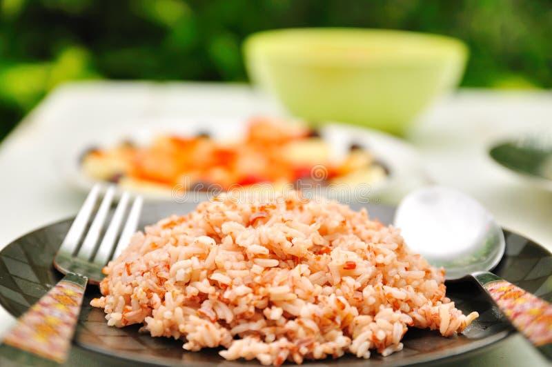 сваренная коричневым цветом ложка риса плиты вилки стоковые фото