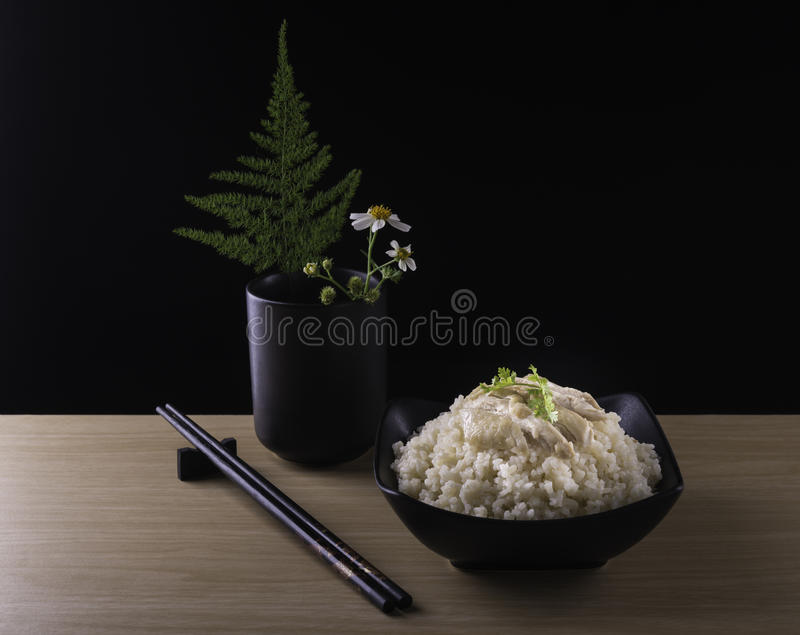 Сваренные рис цыпленка Hainanese или рис стоковые изображения rf