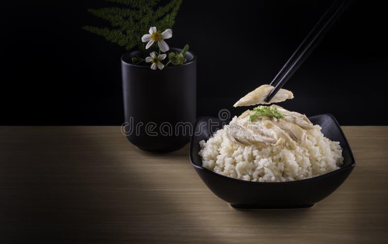 Сваренные рис цыпленка Hainanese или рис стоковое изображение