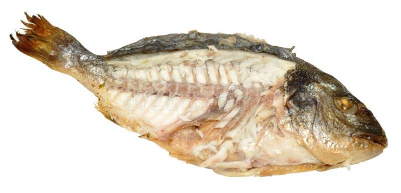 Сваренные рыбы при подвергли действию плоть, который стоковое изображение
