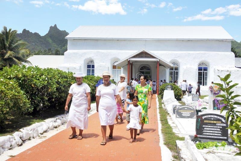 Сварите островитянин выйдите от церков Ekalesia Matavera CICC в Raroto стоковое изображение