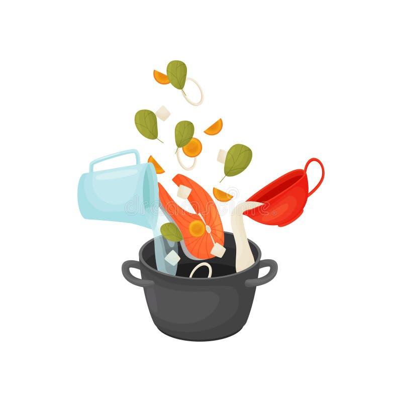 Сварите суп с рыбами и овощами в кастрюльке r бесплатная иллюстрация