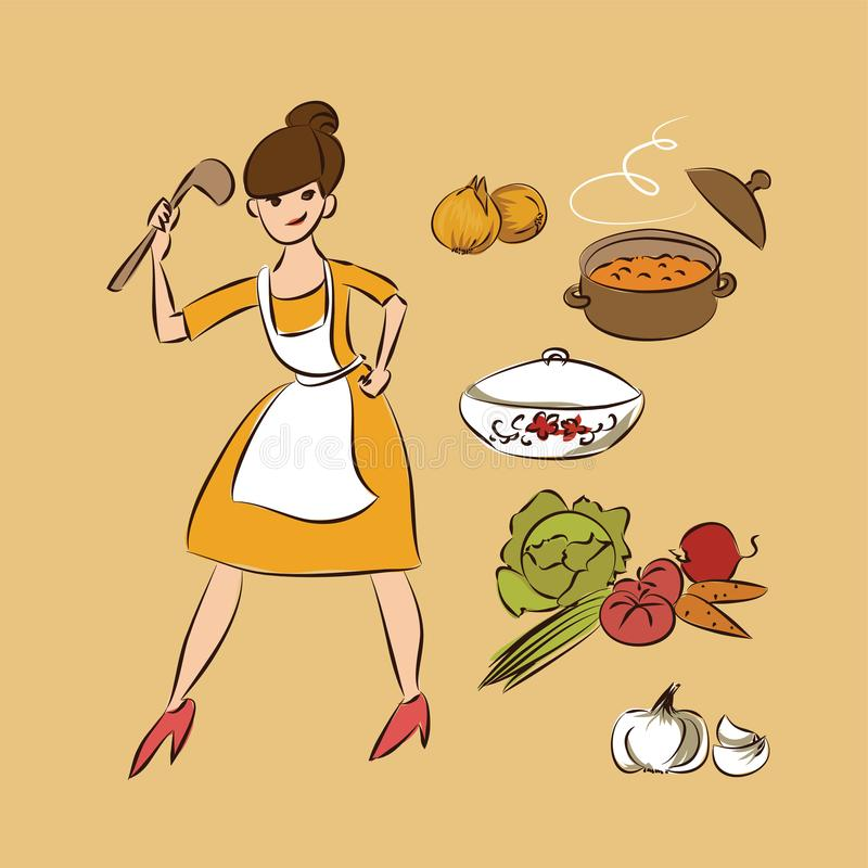 Сварите элементы дизайна эскиза иллюстрации вектора супа изолированные doodle иллюстрация вектора