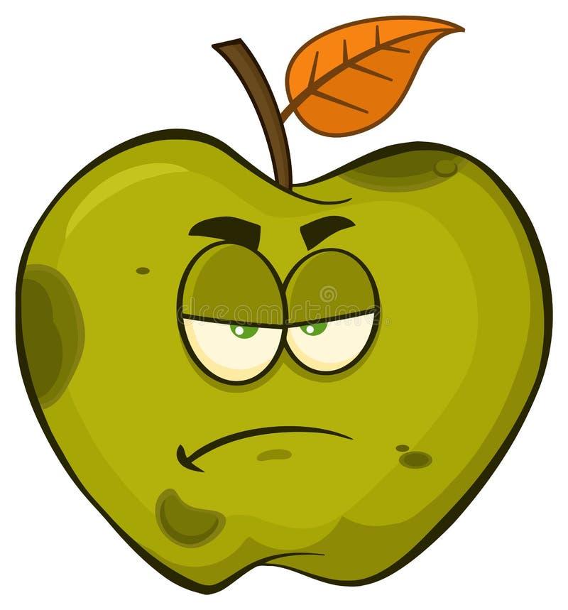 Сварливый тухлый зеленый характер талисмана шаржа плодоовощ Яблока иллюстрация штока