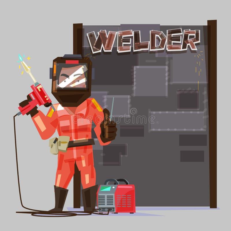 Сварщик в защитной маске держа газосварочную машину сварено иллюстрация штока
