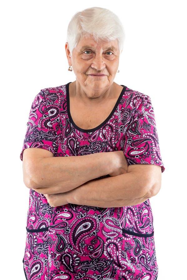 Сварливая пожилая дама при пересеченные оружия стоковые изображения