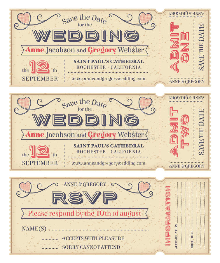 Свадьба вектора приглашает билеты иллюстрация вектора