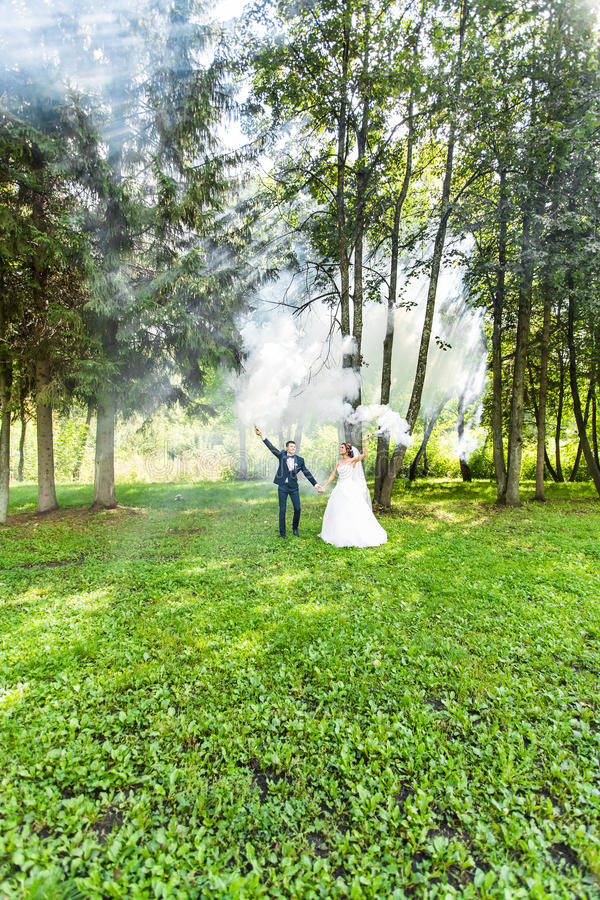 Свадьба, влюбленность, отношения, замужество Усмехаясь жених и невеста с голубым дымом стоковое изображение rf