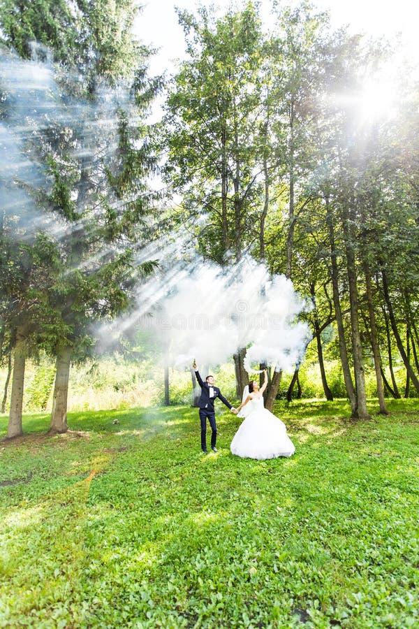 Свадьба, влюбленность, отношения, замужество Усмехаясь жених и невеста с голубым дымом стоковое изображение