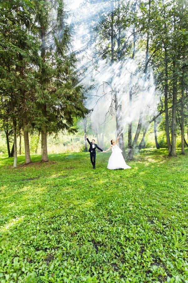 Свадьба, влюбленность, отношения, замужество Усмехаясь жених и невеста с голубым дымом стоковое фото