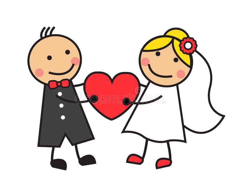 Свадьба шаржа иллюстрация вектора