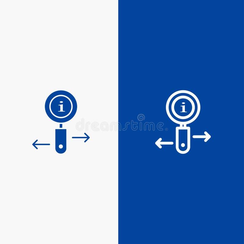 Сведения, информация, масштаб, линия поиска и сплошная глянцевая панель и синий баннер, а также значок Глифа Solid Синий флаг иллюстрация штока