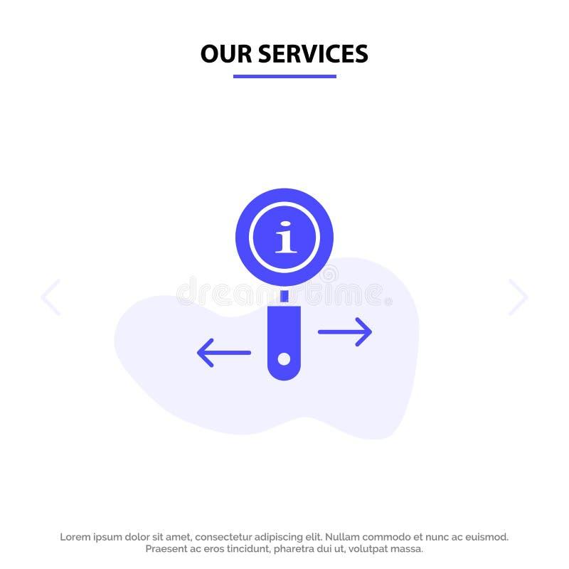 Сведения о наших услугах, информация, масштаб, поиск по шаблону веб-карты со сплошным значком глифа бесплатная иллюстрация