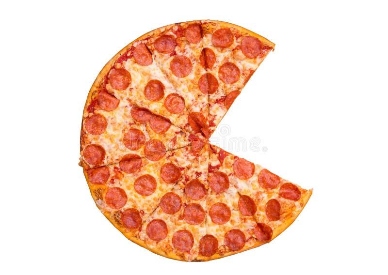 Свежая вкусная пицца pepperoni без 2 кусков изолированных на белой предпосылке r стоковое фото rf