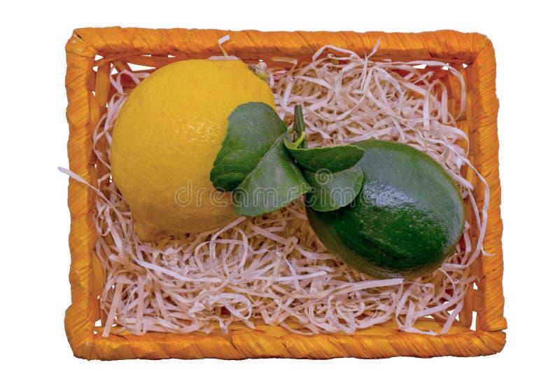 Свежая зеленая известка и желтый лимон в корзине стоковая фотография rf
