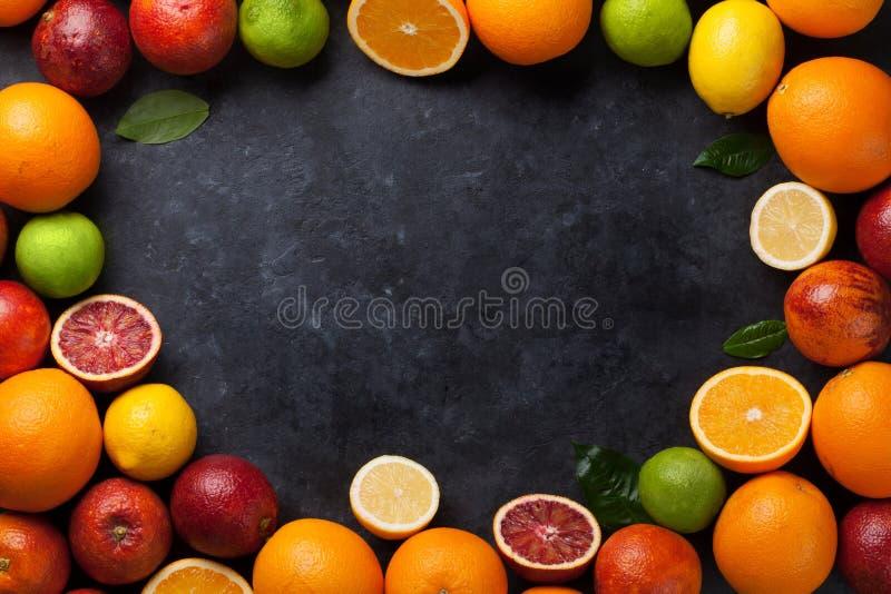 Свежая зрелая рамка цитрусов Лимоны, известки и апельсины стоковое изображение rf