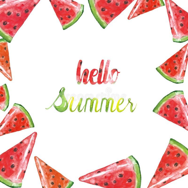 Свежая иллюстрация арбуза на белой предпосылке Рука покрасила рамку плодов лета сочную иллюстрация вектора