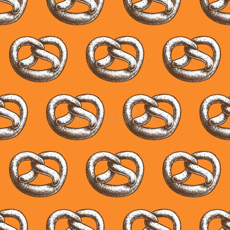 Свежая испеченная посоленная картина кренделя sesam безшовная Немецкие традиционные oktoberfest хлебобулочные изделия иллюстрация вектора