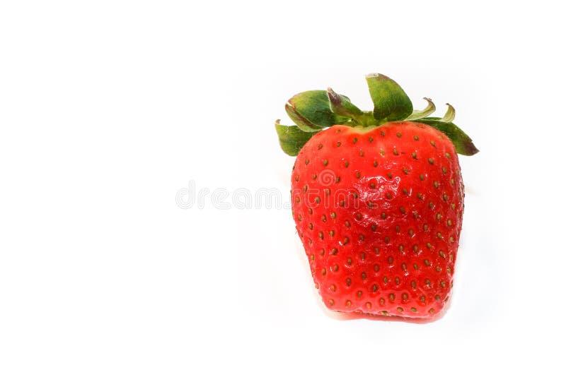 Свежая и естественная красная клубника прямоугольной формы, при зеленые листья, изолированные на безшовной белой предпосылке стоковые фото