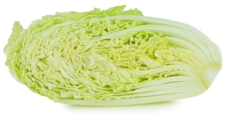 Свежая китайская капуста и отрезок одно на белой предпосылке стоковое изображение rf