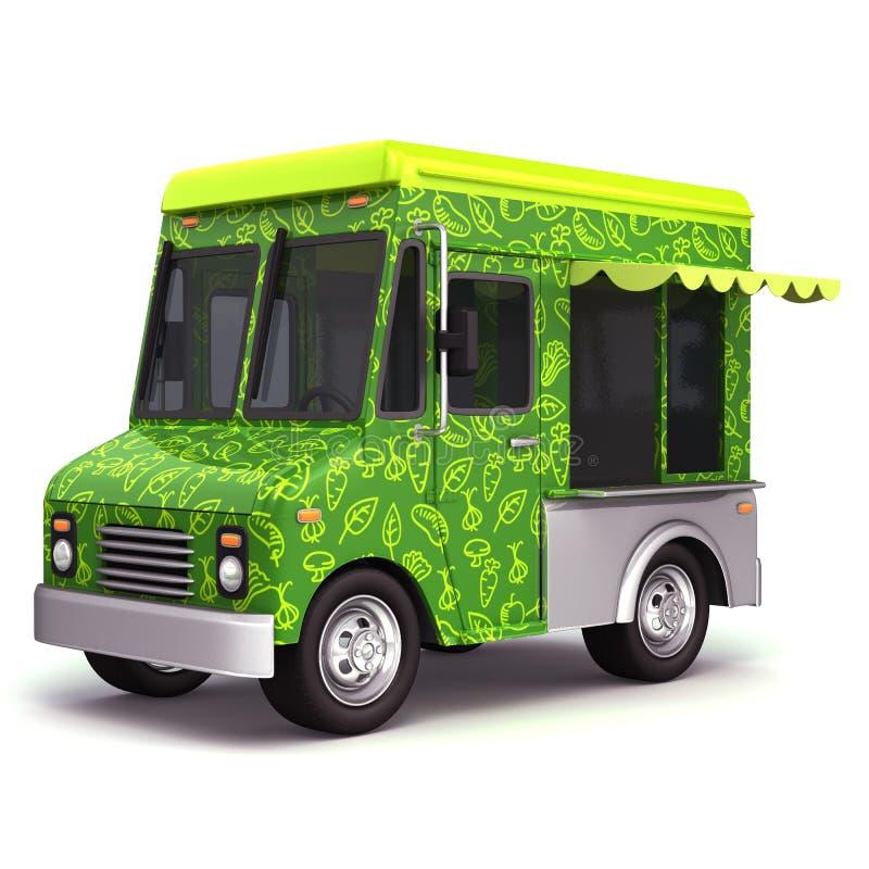 Свежая сторона тележки зеленой еды иллюстрация штока