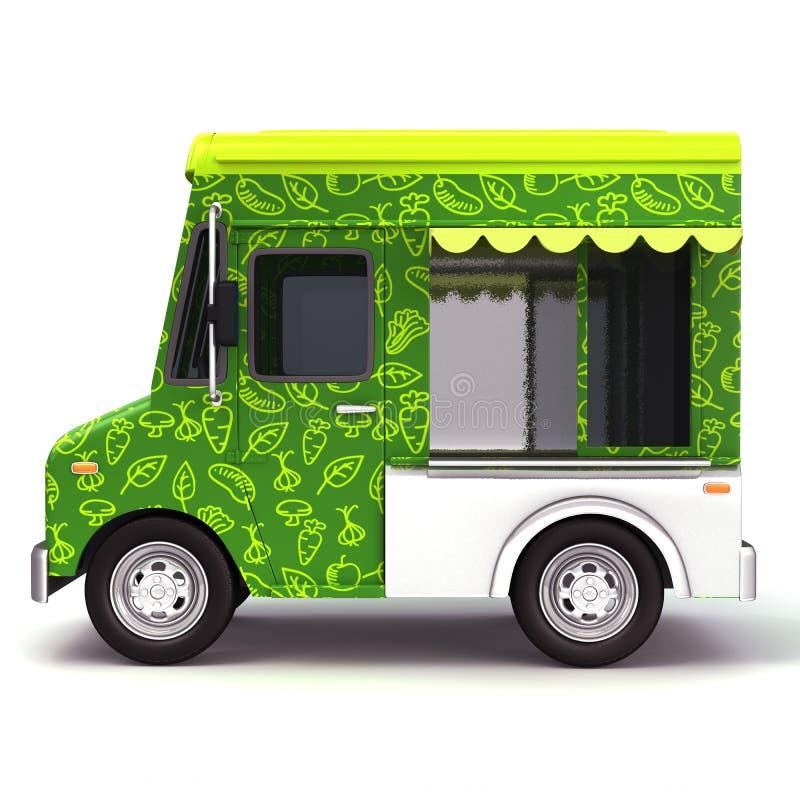Свежая сторона тележки зеленой еды иллюстрация вектора