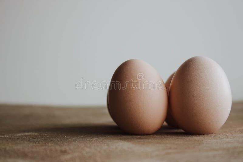 Свежая ферма eggs на деревянной деревенской предпосылке стоковое изображение