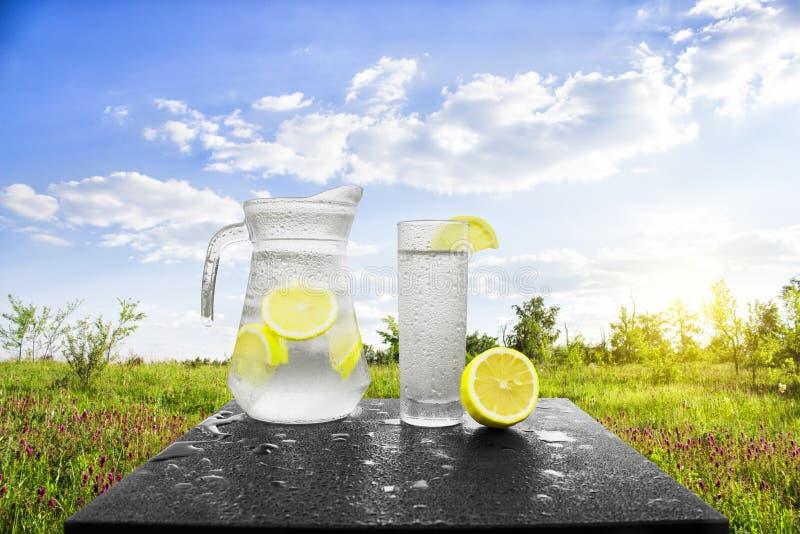 Свежая холодная вода с лимоном и льдом в кувшине на таблице Домодельный лимонад с свежими цитрусами на предпосылке природы стоковое изображение rf