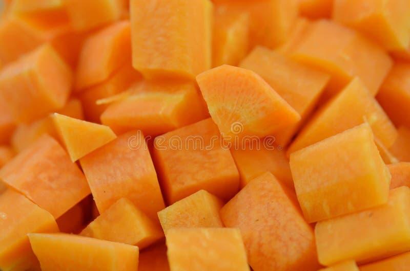 Свежая diced морковь, крупный план стоковая фотография rf