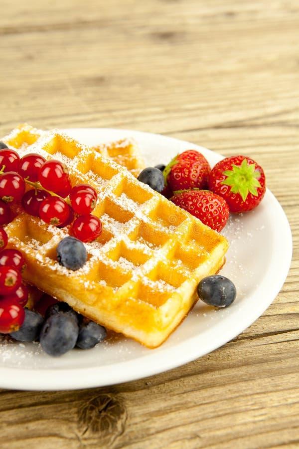 Свежее вкусное waffer с сахаром порошка и смешанными плодоовощами стоковые изображения